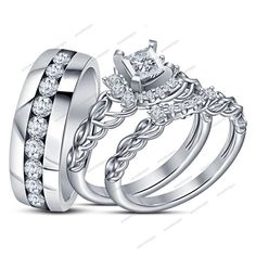 1.10Ct  Round Sim.Diamond 925 Silver 14k White Gold Filled His/Her Trio Ring Set #aonedesigns