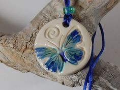 Pottery Pendant Necklace Blue Green by CenterHillClayWorks on Etsy