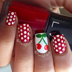 Red polka dots and cherries rockabilly Sparkle Nails, Fun Nails, Rockabilly Nails, Nail Art Printer, Polka Dot Nails, Polka Dots, Red Dots, Cherry Nails, Finger