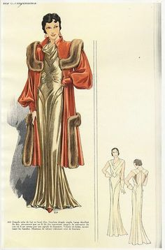 A dramatic, fabulous 1930s evening dress and fur trimmed coat. #vintage #1930s #fashion_illustrations