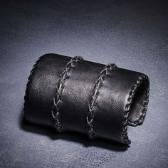 Black Leather Cuff: Urban Zen
