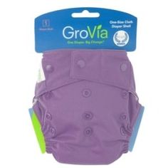 """Grovia Shell Hybrid Cloth Diaper - Blackberry Snaps Closure   GroVia Shell Hybrid Diaper system is quite possibly the most flexible and modern cloth diaper available. Flexible because you get to decide what you put inside your GroVia one-size hybrid Shell, cloth or eco-friendly disposable. Simple, modern, and one giant step towards a smaller """"footprint"""". How does GroVia Shell System work?  GroVia Shells are designed so that the outer shells may be used for multiple diaper changes"""