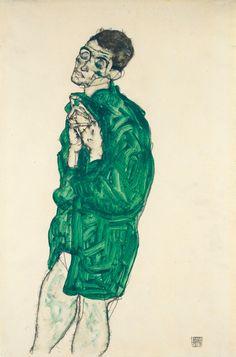 Egon Schiele, Self portrait in Green Shirt with Closed Eyes, 1914 on ArtStack #egon-schiele #art
