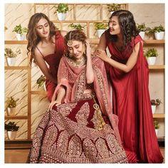 Bridesmaid for a day, but best friends for life. How cool this #girlgang looks in Red Fishcut and Red trail gown with the bride blushing in Maroon heavy full work lehenga. Love this #BrideTribe ?? Have your friends also rent these perfect outfit along with your perfect look. Rent Designer outfits only at www.rentanattire.com or call us at 7722009477