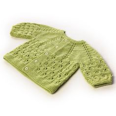 Ravelry: Stems & Leaves, Baby Cardigan pattern by Rosangela Adoum (Fingering weight) Cardigan Design, Baby Cardigan Knitting Pattern, Knitted Baby Cardigan, Baby Knitting Patterns, Baby Dress Patterns, Knitting For Kids, Baby Sweaters, Crochet Clothes, Knit Crochet