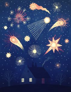 Happy new year✨illustration made by For more amazing illustrations tap via Art And Illustration, Illustration Inspiration, Illustrations Vintage, Illustrations And Posters, Creepypasta Anime, Poster S, Pablo Picasso, Fireworks, Painting & Drawing