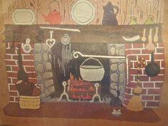 "Vintage Bucilla Christmas Needlecraft Kit ""Fireside"" 20 x 24"" Wall Panel #Bucilla"