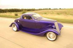 Purple '34 Ford 3 Window fiberglass restoration.  Awesomest Car Ever!!!!