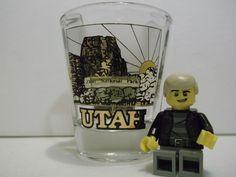 Utah State Classic Shot Glass Black and 22 Karat Gold Artwork