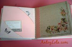 libro de comunion Album Scrapbook, Scrapbooking, Vestidos, Signature Book, Wedding Invitations, Christening, Index Cards, Projects, Scrapbook