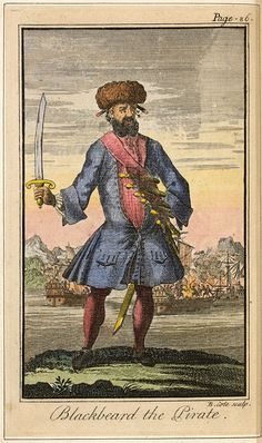 """Edward Teach: The Pirate Blackbeard Edward Teach (about 1680–1718) wore his thick, black beard long, adorned with ribbons. It gave him his nickname, and before battles he hung smoldering fuses from his beard to terrify his enemies. In the early 1700s, Blackbeard captured dozens of merchant vessels in the Caribbean and along the Atlantic Coast. In 1718, he raided Charleston, South Carolina, seized many ships, and demanded a ransom for """"several of the best inhabitants of this place."""" Later…"""