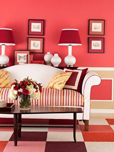 Give Eyes a Break          Add white to a room with multiple patterns. White gives eyes a place to rest and highlights the patterns by separating one from another. The white sofa and accents help the cushion, throw pillows, wall, and floor patterns pop.