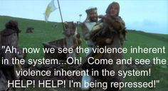 """""""Help, help, I'm being repressed!"""" Monty Python and the Holy Grail. British Humor, British Comedy, Tv Quotes, Movie Quotes, Make Em Laugh, Monty Python, Just For Laughs, Good Movies, The Book"""