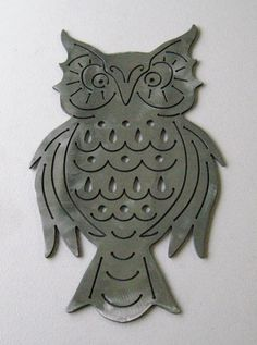 Retro Owl Plaque Steel Handmade Custom Metal by LethalFabrication