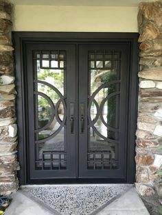 View our Moderno Square Top Double Entry Iron Door design. Home Window Grill Design, Balcony Railing Design, Modern Exterior Doors, Double Doors Interior, Iron Front Door, Iron Doors, Front Door Design, Steel Doors, Entry Doors