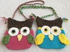 This adorable owl purse is great for any owl lover. You can change up the colors to make it your own. It's a great size for toddlers all the way up to preteens! The single crochet makes it a tight stitch so you personal possessions will not fall or poke through.