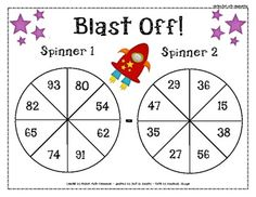 Subtraction spinners differentiated activity.  1 spinner with subtraction without regrouping, subtraction with regrouping, and basic subtraction facts