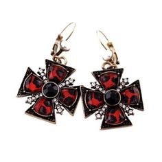 $3.44 Pair of Chic Retro Rhinestone Decorated Cross Pendant Earrings For Women