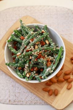 Quick Green Bean and Quinoa Salad with Toasted Almonds and Lemon-Yogurt Dressing @Tina Lee | Wandering Spice