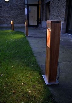 city 700 led wooden bollard light residential outdoor lighting commercial exterior lighting bespoke - Bollard Lights