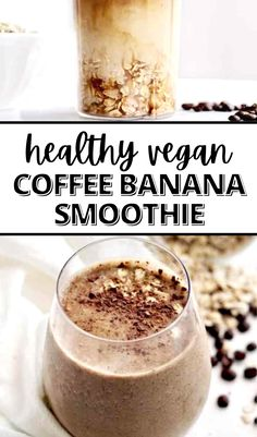 I can't stop making this healthy vegan coffee banana smoothie for breakfast! It's packed with good for you ingredients like quick oats, chia seeds, and coffee. I love how simple it is and that it's gluten free and diary free. You need this easy smoothie in your life! #easysmoothie