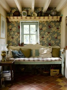 English cottage bench, do our dining nook like this? Shelf, wallpaper or fabric on back wall?