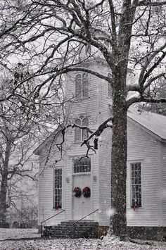 Historic Huntsville Methodist Church, North Carolina http://fineartamerica.com/featured/old-fashioned-christmas-c5548a-paul-lyndon-phillips.html