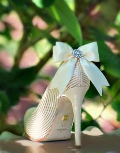 Ivory / White / Black / Nude Sparkly Bow Shoe Clips. Bride Bridal Bridesmaid Wedding Big Day, Chic Stylish Couture Gift, Also: Blue Sage Red. $41.50, via Etsy.