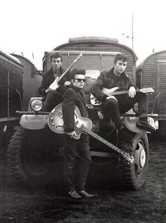 The Beatles. Photograph by Astrid Kirchherr, of the Beatles at the fairground in…