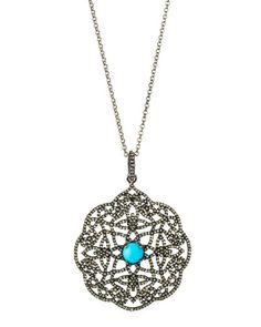 Champagne Diamond & Turquoise Filigree Pendant Necklace