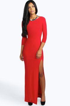 petite candice robe maxi près du corps fendue sur le côté Robe Moulante,  Robe Maxi 9d014e971425