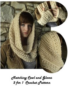 Crown of Stars Crochet Cowl and matching Fingerless Gloves- infinity scarf - off white, cream view - CROCHET PATTERNS ONLY - 2 patterns in 1