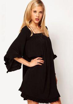 Black Pleated Tie Back Lotus Sleeve Chiffon Dress