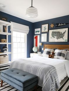 Boy Bedroom Decor in Red, White and Blue, Adventure Boy Bedroom Design, Teen Bo . - Boy Bedroom Design - Home Decor Big Boy Bedrooms, Boys Bedroom Decor, Boy Bedroom Designs, Mens Room Decor, Boys Room Design, Boys Bedroom Ideas Tween, Preteen Boys Room, Boys Space Bedroom, Teen Boys Room Decor