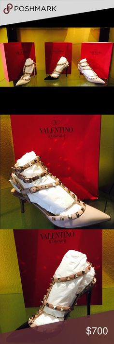 Valentino Shoes - $700 OBO BRAND NEW (NEVER WORN) AUTHENTIC VALENTINO Shoes in authentic box with authentic carrying case and additional authentic studs. Perfect for Valentines Day gift! Sizes 8-9 1/2. Original price $1,000.00. Selling them for $700.00 or OBO. Will not last long so hurry before they are gone!! Email naishadr@hotmail.com for discounted sale Valentino Garavani Shoes Heels