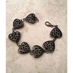 Bronze Puffed Heart Bracelet ($12) ❤ liked on Polyvore featuring jewelry, bracelets, heart bangle, heart-shaped jewelry, bronze bangle, heart jewelry and bronze jewelry