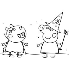 Peppa Pig Halloween Party Coloring Images Peppa Pig Coloring Pages Peppa Pig Colouring Pig Halloween