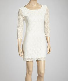 Another great find on #zulily! Ivory Lace Scoop Neck Dress #zulilyfinds Dang it I coulda got this one....