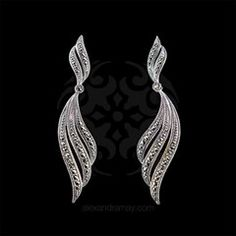 Luke Stockley Sterling Silver & Marcasite Swirl Drop Earrings (SME1104)