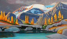 Mount McCusker Alpine, 36x60 inches, Acrylic on canvas, by Nicholas Bott, Canadian