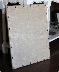 Pottery Barn inspired burlap memo board