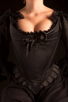 Original 18th Century Pattern Boned Stays in Black Satin and Lace