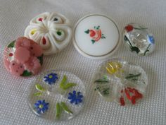 Lot of 6 VINTAGE Glass Flower BUTTONS by abandc on Etsy