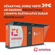 HOBI.LT užsakymų, kurių vertė 39€ ar daugiau pristatymas į OMNIVA paštomatus dabar - NEMOKAMAS!