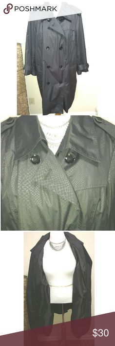 Black Fully Lined Trenchcoat Black fully lined trenchcoat. Worn maybe 5 or 6 times. In perfect shape. Repels water. No trades. Make an offer. Attention Jackets & Coats Trench Coats