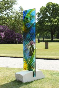 Fused glass Garden Or Yard / Outside and Outdoor sculpture by artist Arabella Marshall titled: 'Tall panel 1 (Fused Coloured Glass garden Yard sculpture statue)'
