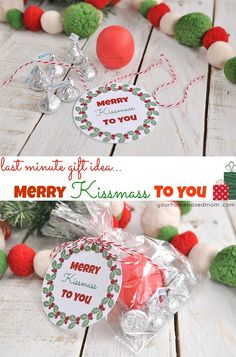 The perfect last minute Christmas gift idea! Print the FREE Christmas tag, fill a bag with kisses and EOS Lip Balm! Visit our 100 Days of Homemade Holiday Inspiration for more recipes, decorating ideas, crafts, homemade gift ideas and much more!