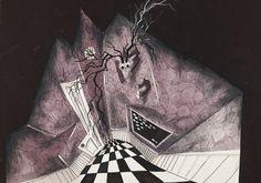 Un disegno della serie dedicata a Halloween: Trick or Treat, del 1980. La geometria ipnotica, le prospettive distorte e vorticose sono frequenti nell'opera di Tim Burton. E si presume saranno fondamentali nel suo prossimo film, che rivisita la storia di Alice nel Paese delle Meraviglie. Private Collection. © 2009 Tim Burton