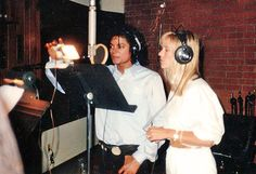 Michael Jackson and Christine Decroix recording I Just Can't Stop Loving You in French