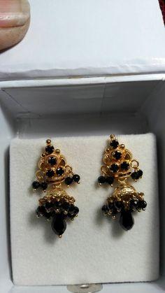 Black beads earrings Gold Jhumka Earrings, Buy Earrings, Gold Earrings Designs, Gold Jewellery Design, Beaded Earrings, Beaded Jewelry, Gold Jewelry, Ear Jewelry, Ear Rings